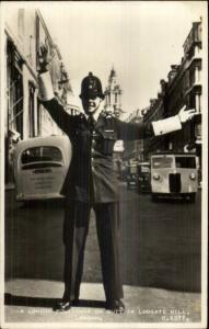 London - Ludgate Hill Police Officer Cop Bobby Real Photo Postcard