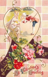 Valentine Calligraphy~Regency Couple & Cupid in Heart~Geraniums~Art Nouveau~Emb
