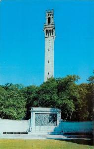 Provincetown~Cape Cod MA~Pilgrim Memorial Monument~Sculpture~1950s Postcard