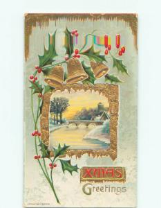 Pre-Linen christmas ARCHED BRIDGE OVER ICY RIVER & GOLD BELLS k1408