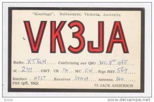 Radio card VK3JA,  Kooringa , Nullawarre, Victoria, Australia, 1950-60s