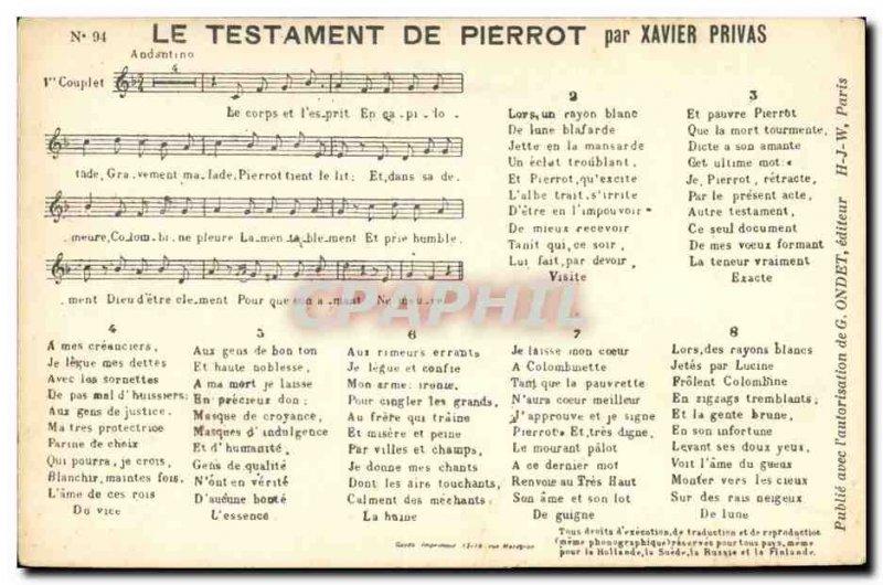 Old Postcard Wills Pierrot Xavier Privas
