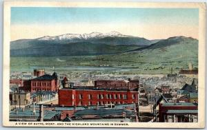 Vintage Montana Postcard View of Butte & Highland Mountains in Summer c1930s