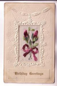 Embroidered Silk Purple Flowers, Birthday,  Embossed, Used 1917 Flag Cancel