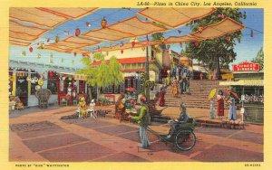 Plaza in China City, Los Angeles, CA Rickshaw Chinatown c1940s Vintage Postcard
