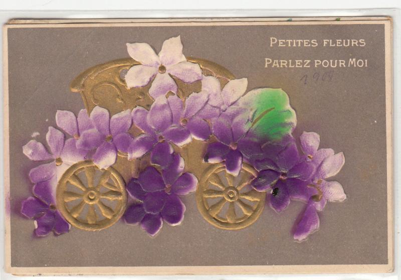 Embossed Petites Fleurs Parlez pour Moi carriage flowers talk with me 1905
