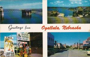 Nebraska Greetings From Ogallala Sioux Trading Post Dam & More 1962