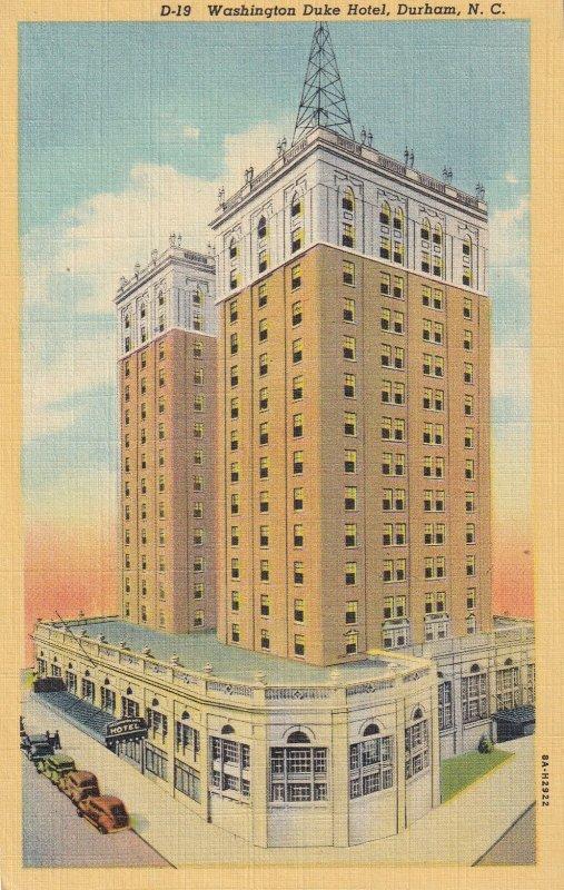 DURHAM, North Carolina, 1930-1940s; Washington Duke Hotel