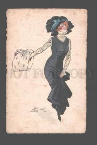 079455 Fashionable Lady BELLE old WATER COLOR Art Deco VIENNE