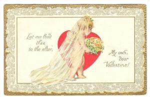 TUCK  1, Cupids, Cupid wearing veil holding bouquet of flowers, My own dear...