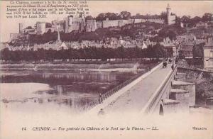 France Chinon Vue generale du Chateau et le Pont sur la Vienne