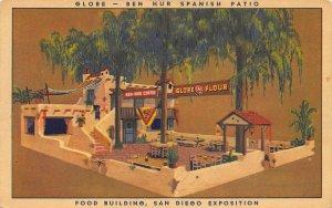 San Diego CA Expo Globe Food Building Ben Hur Spanish Patio Ad Linen Postcard