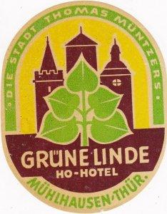 Germany Muelhausen Ho Hotel Gruene Linde Vintage Luggage Label sk2919