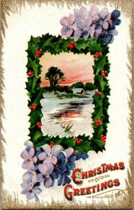 Holly Violets golden icicles frozen lake Christmas postcard c1910