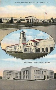 Junior College SALINAS Union High School Monterey Co. Court House 1946 Postcard