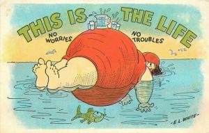 Artist impression 1920s Fat Lady Bather Comic Humor White Postcard 229