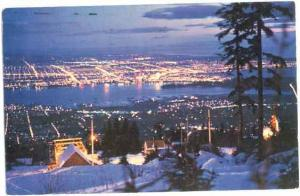 Night view from Grouse Mountain, Vancouver, British Columbia, BC, 1961? chrome