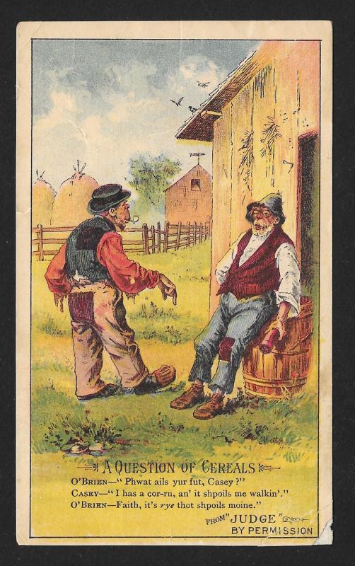 VICTORIAN TRADE CARD Arbuckles Coffee 2 Irish Men 'A Question of Cereals'