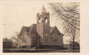 New Market Iowa~ME Church~Louise Gafert~Tiny Place~New Hat Humdinger~1907 RPPC