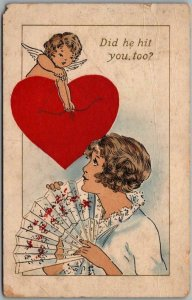 1915 Whitney VALENTINE'S DAY Postcard Cupid & Pretty Girl Did He Hit You, Too?