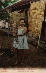 CPA Pnom Penh- Jeune Mére et son Enfant. CAMBODGE Indochine (714983)