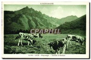 Old Postcard The Auvergne Landscape Valley of Hell Cows