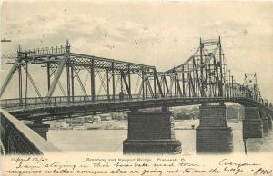 Broadway Newport 1907 Truss Girder Bridge Postcard Cincinnati 11511