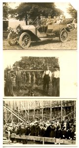 3 RPPC's - Antique Cars, Coon Hunters, Group of People