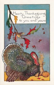 THANSKGIVING, 1900-10s; Greetings, Wild Turkey, Fall Leaves, Pumpkin