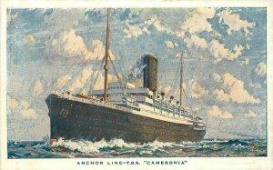 Anchor Line TSS 1920s Steamship Cameronia Postcard 20-1181