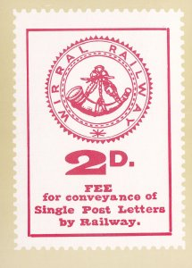 Wirral Railway 2d Conveyance Letter Fee Stamp Rare Postcard