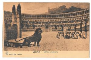 Italy Roma Lions Christians Colosseum Last Prayer Postcard