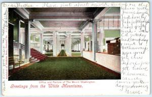 BRETTON WOODS, NH  Interior Office Parlors MOUNT WASHINGTON HOTEL 1900s Postcard