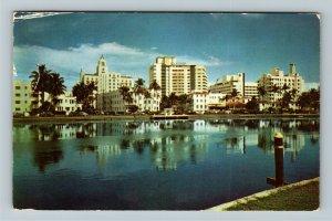 Miami FL- Florida, Skyline across Iconic River, Chrome c1954Postcard