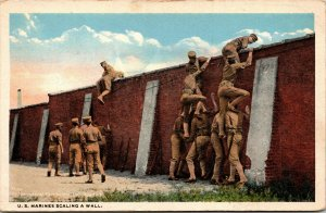 Vtg 1917 US Marines Scaling A Wall WWI Era Postcard