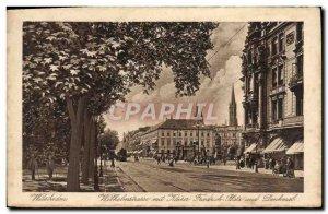 Old Postcard Wiesbaden Wilhelmstrasse mit Kaiser Friedrich Platz und Denkmal