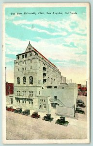 Los Angeles California~New University Club~Cars Parked Along Front~1944 Postcard