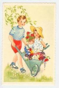 Schermle  Boy & girl w/wheelbarrel of flowers 30-50s