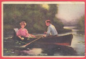 COUPLE IN ROW BOAT  DRIFTING. 1910  3.5 X 5.5 SEE SCAN  PC13