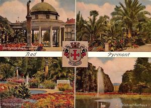 Bad Pyrmont, Palmengarten Teich mit Kurhaus Derhyllige Born Palmengarten