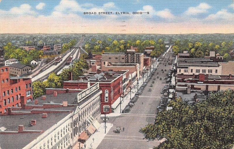 Elyria Ohio~Broad Street~Storefronts~Ohio Public Service Co~1945 Linen Postcard