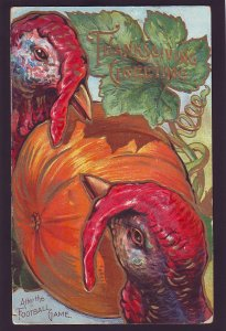 P1610 old after the football game turkey pumpkin thanksgiving  postcard