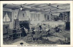 Westerly RI Elm Tree Inn Interior Postcard #2