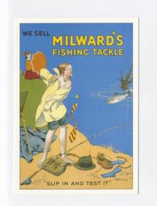ad496 - advert for Milward's fishing tackle - man fishing  - art postcard