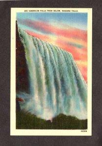 NY Niagara Falls American Falls New York ON Ontario Canada Linen Postcard
