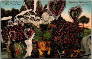 1910s Pasadena Tournament of Roses Parade Postcard Hotel Maryland Float Unused