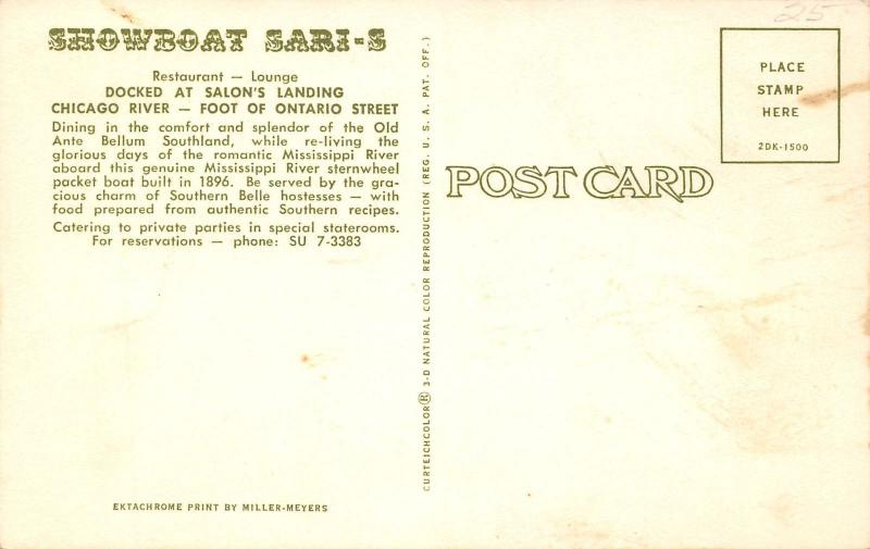 Chicago IL~Ontario Street Salon's Landing~Showboat Sari-S~Artist Drawn~1962 PC
