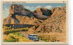 Bus El Capitan Peak Texas Roadside America linen postcard