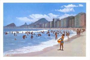 Capacabana Beach, People Swimming, Rio De Janeiro, Brasil, 1950-1970