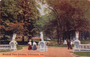 INDIANAPOLIS INDIANA WOODRUFF PLACE ENTRANCE~STATUES~POSTCARD 1910s